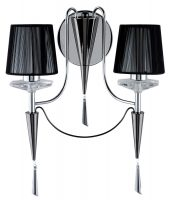 Duchess Chrome 2 lamp Wall Light With Black Shades