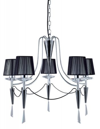 Duchess Chrome 5 Light Chandelier With Black String Shades