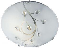 Medium White Glass And Crystal 1 Lamp Flush Ceiling Light