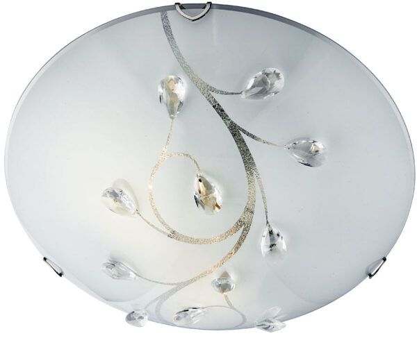 Large White Glass And Crystal Flush Ceiling Light