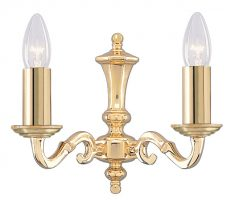 Seville Solid Brass 2 Lamp Traditional Wall Light