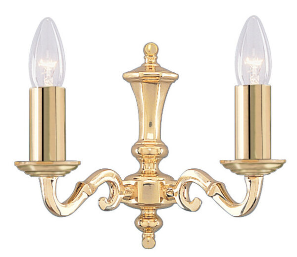 Seville Solid Polished Brass 2 Lamp Traditional Wall Light
