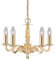 Seville Solid Polished Brass 5 Light Traditional Chandelier
