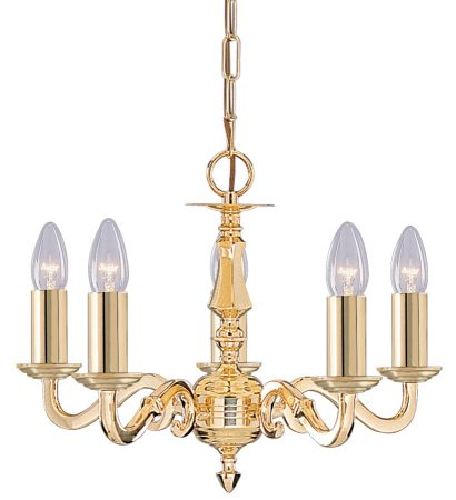 Seville Solid Brass 5 Light Traditional Chandelier