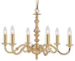Seville Solid Polished Brass 6 Light Traditional Chandelier