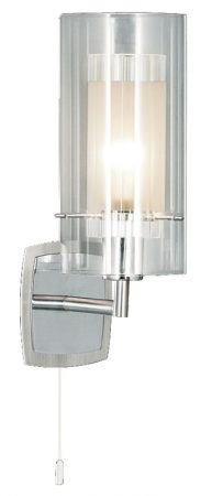 Duo 1 Switched Polished Chrome Wall Light Clear Glass Shade