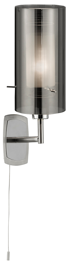 Chrome Wall Light With Glass Shade : Duo 2 Switched Polished Chrome Wall Light Smoked Glass Shade 2300-1SM