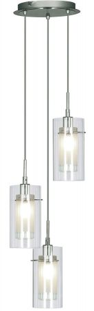 Duo 1 Chrome 3 Light Multi Drop Pendant Clear Glass Shades