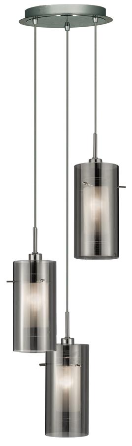 Duo 2 Chrome 3 Light Multi Drop Pendant Smoked Glass Shades