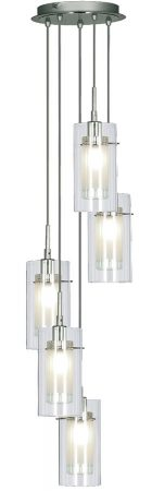 Duo 1 Chrome 5 Light Multi Drop Pendant Clear Glass Shades
