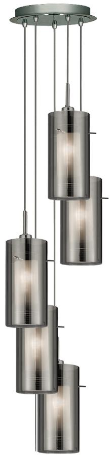 Duo 2 Chrome 5 Light Multi Drop Pendant Smoked Glass Shades