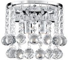 Hanna Chrome Finish 2 Light Crystal Wall Lamp