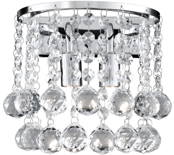 Hanna Chrome Finish 2 Light Crystal Wall Lamp