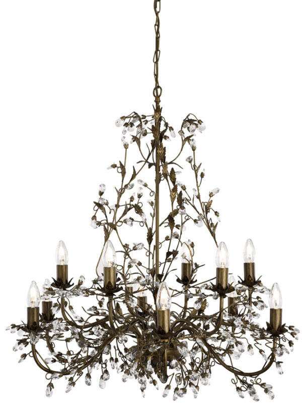 Almandite 12 Light Brown / Gold Large Chandelier With Crystal