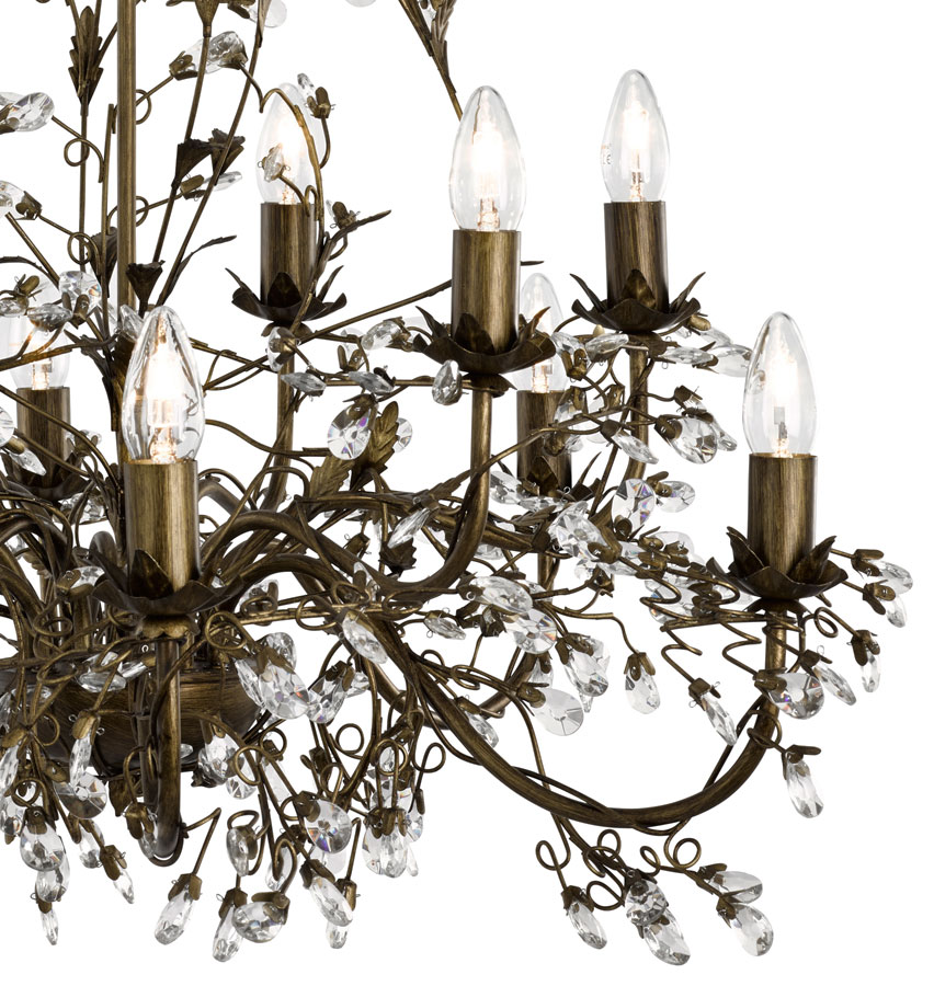 Almandite 12 Light Brown And Gold Large Chandelier With Crystal – Brown Chandelier