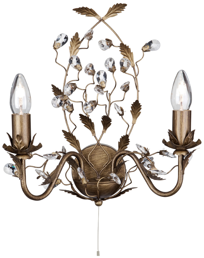 Traditional Switched Wall Lights : Almandite Switched Brown / Gold Twin Wall Light With Crystal 2492-2BR