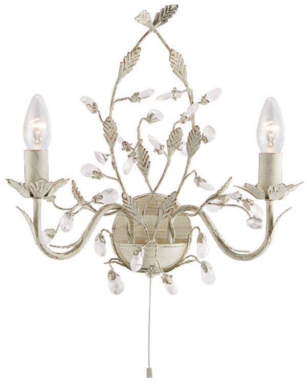 Almandite Switched Cream / Gold Twin Wall Light With Crystal