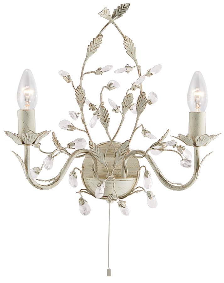 Traditional Switched Wall Lights : Almandite Switched Cream / Gold Twin Wall Light With Crystal 2492-2CR