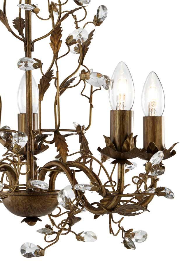 Almandite Brown And Gold 5 Light Crystal Chandelier 2495 5BR