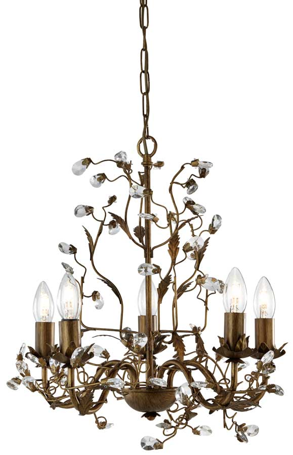 Almandite Brown / Gold 5 Light Chandelier With Crystal