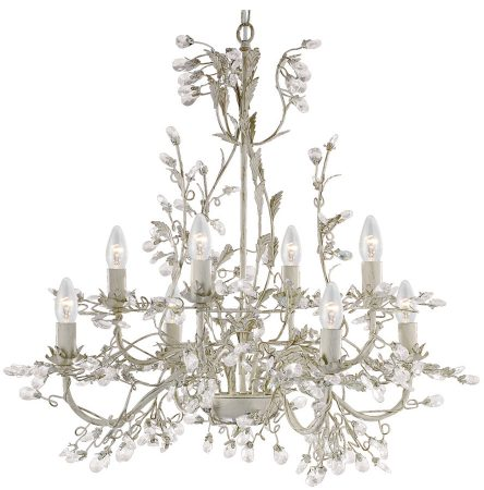 Almandite Cream / Gold 8 Light Chandelier With Crystal