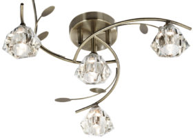 Sierra Modern Antique Brass 4 Light Semi Flush Ceiling Light