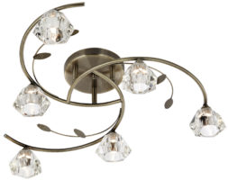 Sierra Modern Antique Brass 6 Light Semi Flush Ceiling Light