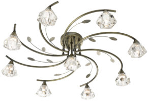 Sierra Modern Antique Brass 9 Light Semi Flush Ceiling Light