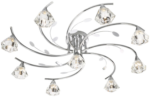 Sierra Modern Polished Chrome 9 Light Semi Flush Ceiling Light