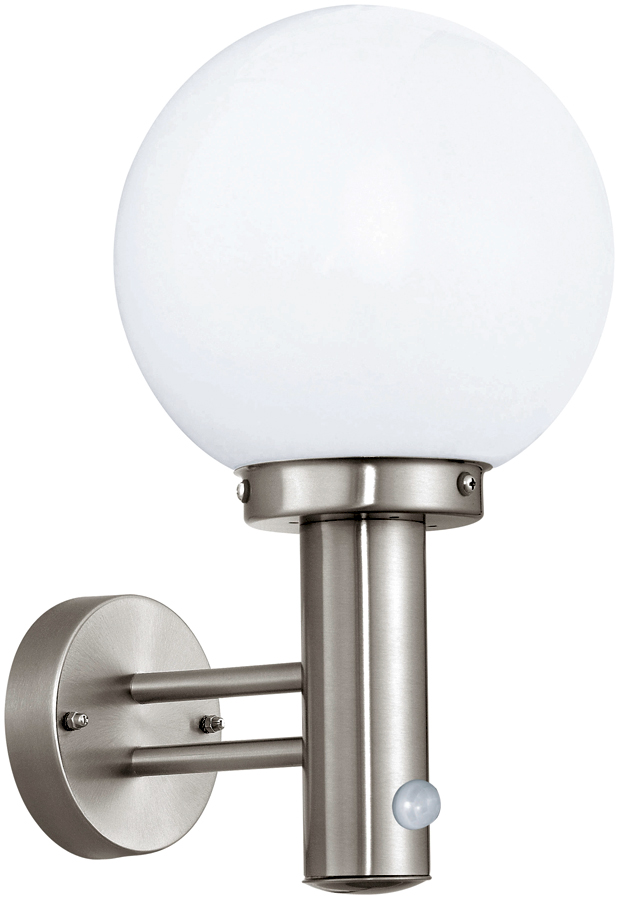 Modern Pir Wall Lights : Modern Globe Outdoor PIR Wall Light Stainless Steel 27126