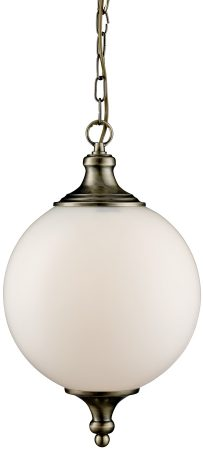 Traditional Antique Brass White Globe Pendant Light