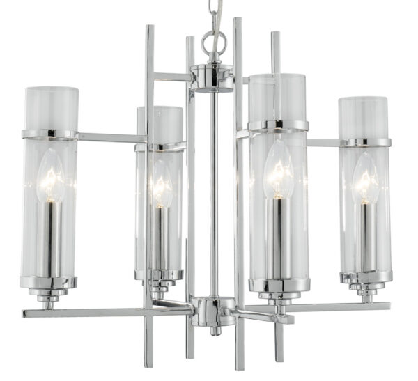 Milo Chrome 4 Lamp Art Deco Style Pendant Light