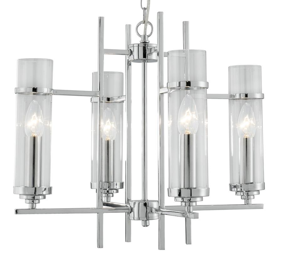 Milo Chrome 4 Lamp Art Deco Style Pendant Light 3094 4CC
