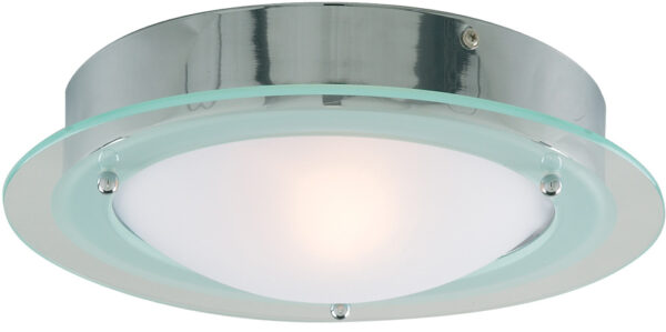Chrome IP44 Flush Bathroom Ceiling Fitting