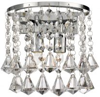 Hanna Chrome 2 Light Diamond Crystal Wall Lamp