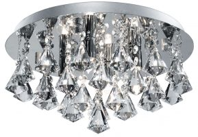 Hanna Chrome 4 Lamp Flush Diamond Crystal Light