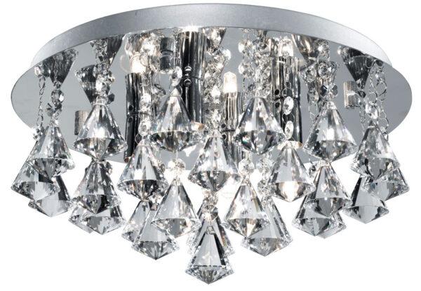 Hanna Chrome 4 Lamp Flush Diamond Crystal Light