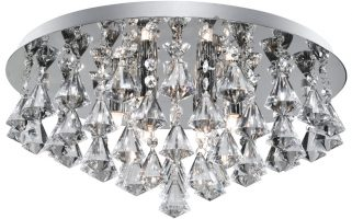 Hanna Chrome 6 Lamp Flush Diamond Crystal Light