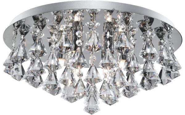 Hanna Chrome 6 Lamp Flush Diamond Crystal Light