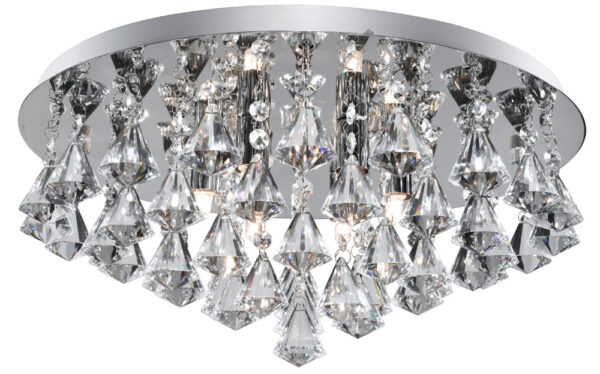 Hanna Chrome 8 Light Flush Diamond Crystal Light