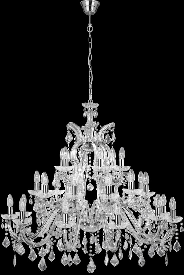 MARIE THERESE large chandelier in chrome & crystal