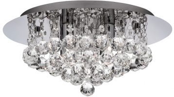 Hanna Chrome Finish 4 Light Flush Crystal Ceiling Light
