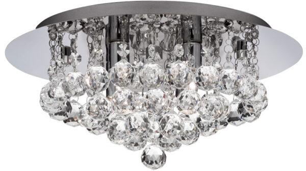 Hanna Chrome Finish 4 Light Flush Crystal Ceiling Light