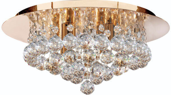 Hanna Gold Finish 4 Light Flush Crystal Ceiling Light