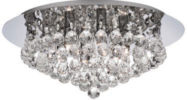 Hanna Chrome Finish 6 Light Flush Crystal Ceiling Light