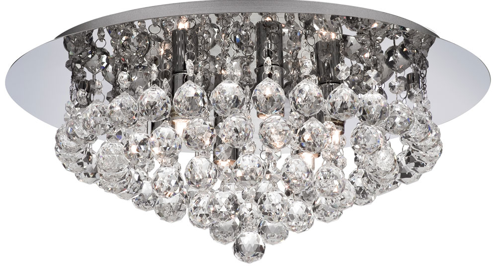 Hanna chrome finish 6 light flush crystal ceiling light 3406 6cc aloadofball Image collections