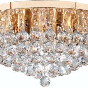 Hanna Gold Finish 6 Light Flush Crystal Ceiling Light