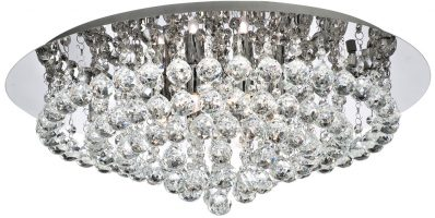Hanna Chrome 8 Light Large Flush Crystal Ceiling Light