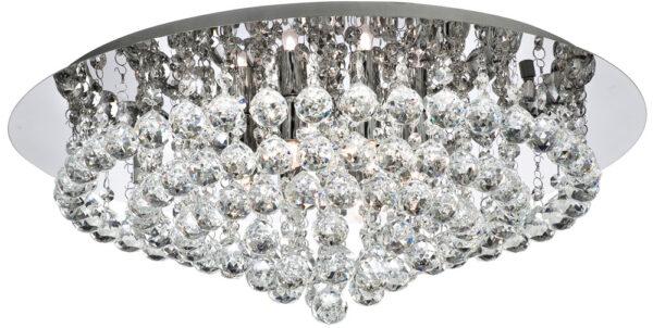 Hanna Chrome 8 Light Large Flush Crystal Ceiling Light