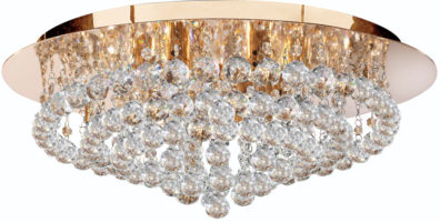 Hanna Gold 8 Light Large Flush Crystal Ceiling Light